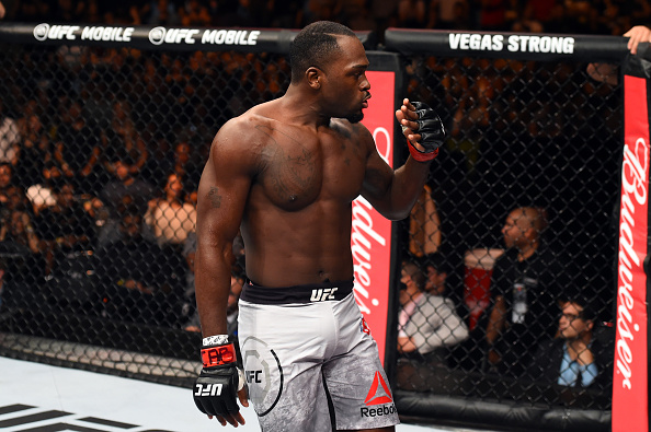 <a href='../fighter/Derek-Brunson'>Derek Brunson</a> reacts after defeating <a href='../fighter/Lyoto-Machida'>Lyoto Machida</a> in Sao Paulo this past Saturday