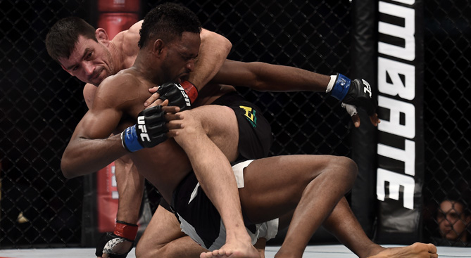 <a href='../fighter/Demian-Maia'>Demian Maia</a> submits <a href='../fighter/Neil-Magny'>Neil Magny</a> in their welterweight bout during the UFC 190 on August 1, 2015 in Rio de Janeiro, Brazil.  (Photo by Buda Mendes/Zuffa LLC/)
