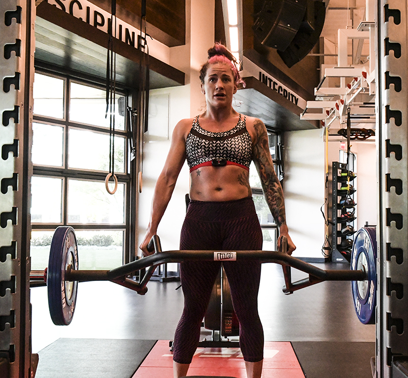 Gina Mazany working deadlift weight at the UFC Performance Institute. (Photo by Juan Cardenas/UFC.com)