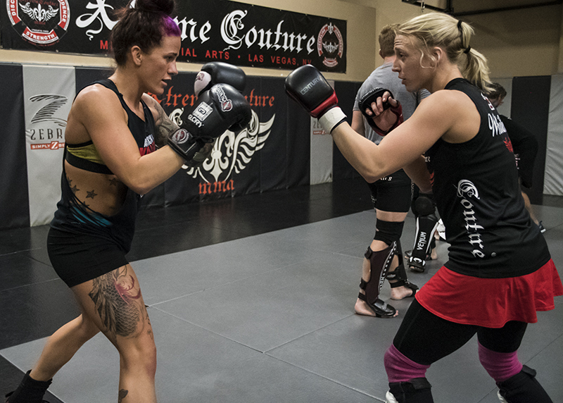 Gina Mazany prepares for UFC Shanghai with her friend, training partner and The Ultimate Fighter participant Emily Whitmire. (Photo by Juan Cardenas/UFC.com)