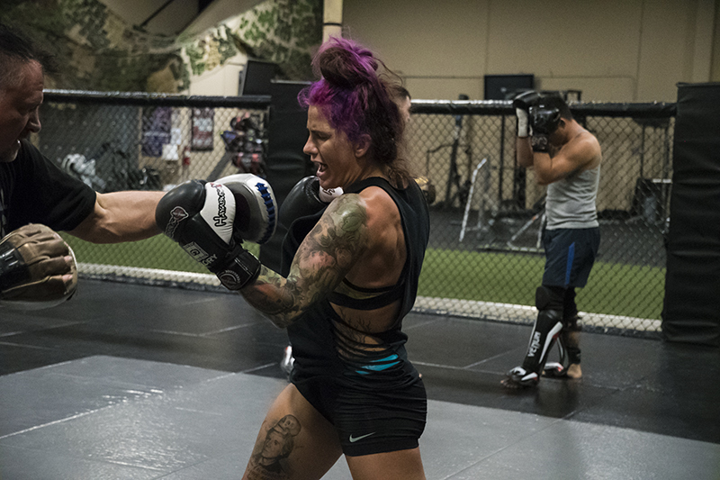 Mazany works the pads at Xtreme Couture in preparation for UFC Shanghai. (Photo by Juan Cardenas/UFC.com)