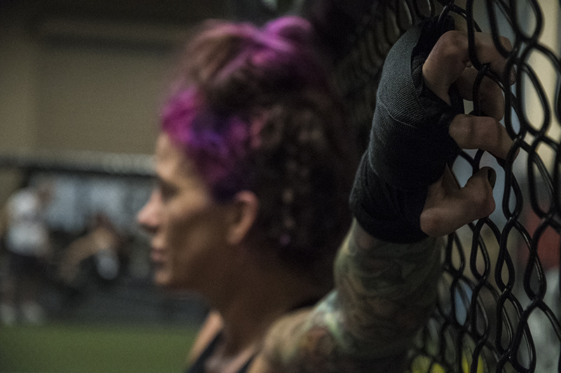 Gina Mazany relaxes after her last training session at Xtreme Couture MMA in preparation for UFC Shanghai. (Photo credit Juan Cardenas)