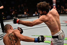 Zabit Magomedsharipov punches <a href='../fighter/Sheymon-Moraes'>Sheymon Moraes</a> on Nov. 25, 2017 in Shanghai, China. (Photo by Brandon Magnus/Zuffa LLC)