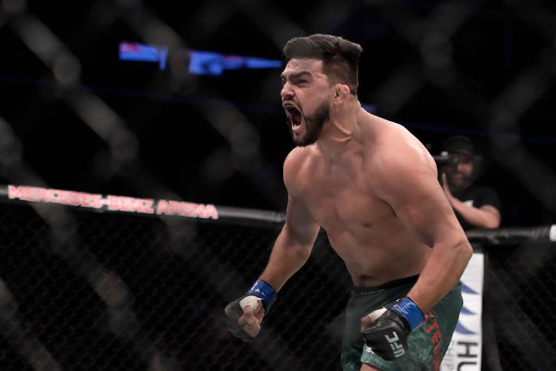 <a href='../fighter/Kelvin-Gastelum'>Kelvin Gastelum</a> celebrates during the <a href='../event/UFC-Silva-vs-Irvin'>UFC Fight Night </a>at Mercedes-Benz Arena on November 25, 2017 in Shanghai, China. (Photo by Hu Chengwei/Getty Images)