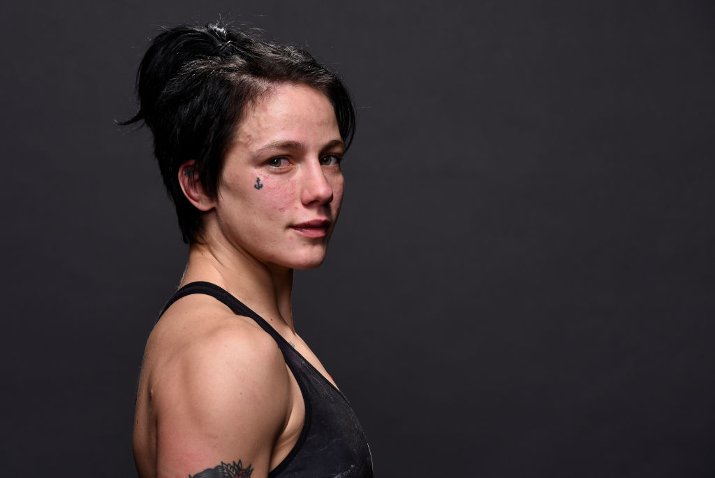 ST. LOUIS, MO - JANUARY 14: <a href='../fighter/Jessica-Rose-Clark'>Jessica-Rose Clark</a> of Australia poses for a post fight portrait backstage during the <a href='../event/UFC-Silva-vs-Irvin'>UFC Fight Night </a>event inside the Scottrade Center on January 14, 2018 in St. Louis, Missouri. (Photo by Mike Roach/Zuffa LLC/Zuffa LLC via Getty Images)