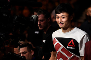 Doo Ho Choi enters the Octagon during <a href='../event/The-Ultimate-Fighter-T-Rampage-vs-T-Forrest-Finale'><a href='../event/The-Ultimate-Fighter-Finale-Team-Nog-vs-Team-Mir'><a href='../event/The-Ultimate-Fighter-Team-Liddell-vs-Team-Ortiz-FINALE'><a href='../event/TUF13-finale'><a href='../event/the-ultimate-fighter-a-champion-will-be-crowned'>The Ultimate Fighter Finale </a></a></a></a></a>event on July 8, 2016 in Las Vegas, Nevada. (Photo by Jeff Bottari/Zuffa LLC)