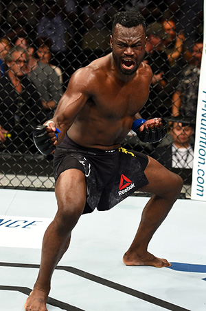 Hall  celebrates after defeating Jotko during the <a href='../event/UFC-Silva-vs-Irvin'>UFC Fight Night </a>event on September 16, 2017 in Pittsburgh, PA. (Photo by Josh Hedges/Zuffa LLC)