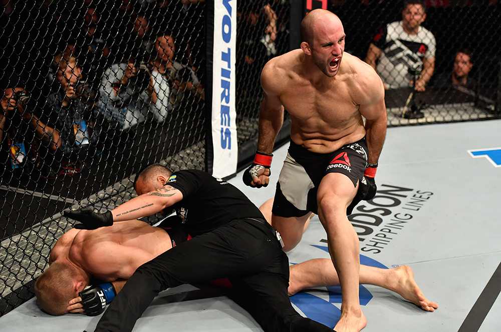 Volkan Oezdemir celebrates his knockout victory over Misha Cirkunov during UFC Fight Night on May 28, 2017 in Stockholm, Sweden. (Photo by Jeff Bottari/Zuffa LLC)
