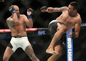 Fabricio Werdum kicks <a href='../fighter/Travis-Browne'>Travis Browne</a> during the UFC 203 event at Quicken Loans Arena on September 10, 2016 in Cleveland, Ohio. (Photo by Rey Del Rio/Getty Images)