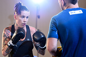Bec Rawlings holds an open workout session for media and fans at the Hyatt Regency Vancouver on August 25, 2016 in Vancouver, Canada. (Photo by Jeff Bottari/Zuffa LLC)