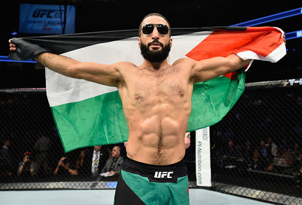 <a href='../fighter/Belal-Muhammad'><a href='../fighter/Belal-Muhammad'>Belal Muhammad</a></a> celebrates his victory over <a href='../fighter/Jordan-Mein'><a href='../fighter/Jordan-Mein'>Jordan Mein</a></a> in their welterweight bout during the UFC 213 event at T-Mobile Arena on July 8, 2017 in Las Vegas, Nevada. (Photo by Jeff Bottari/Zuffa LLC)