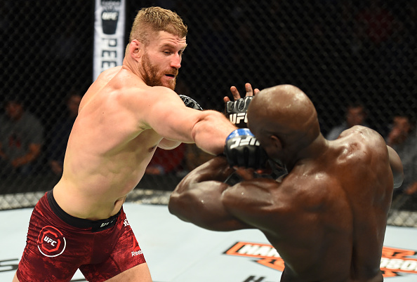 WINNIPEG, CANADA - DECEMBER 16: (L-R) Jan Blachowicz of Poland punches Jared Cannonier in their light heavyweight bout during the UFC Fight Night event at Bell MTS Place on December 16, 2017 in Winnipeg, Manitoba, Canada. (Photo by Josh Hedges/Zuffa LLC/Zuffa LLC via Getty Images)