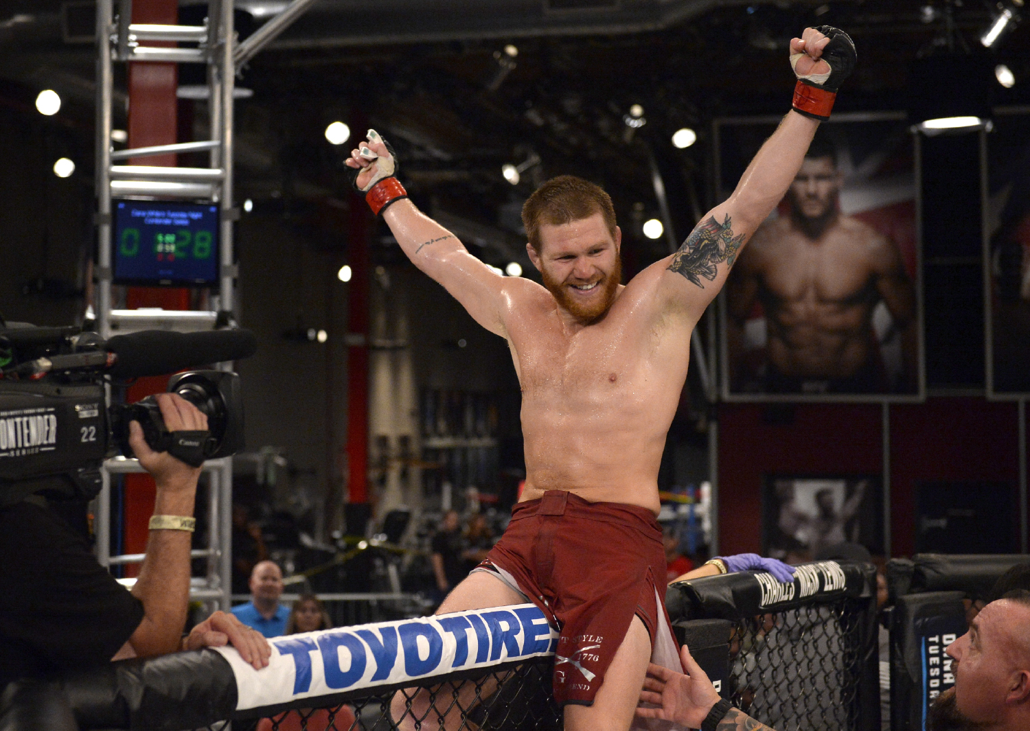 Matt Frevola celebrates after defeating Luke Flores by submission in their lightweight bout during Dana White's Tuesday Night Contender Series at the TUF Gym on August 29, 2017 in Las Vegas, Nevada. (Photo by Brandon Magnus/DWTNCS)