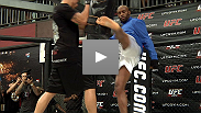 Belly rubs, trash talk and handstands all part of pleasing the crowd as the stars of UFC 117 sweat it out at the UFC Gym.