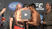 Watch as the England fighters on the main card of UFC 120 weigh in.