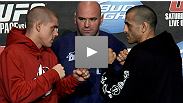 Lightweights Joe Lauzon and George Sotiropoulos on their bout at UFC 123, while Bostonian Dana White struggles with the Aussie accent.