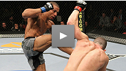 A very happy Edson Barboza sees his three-a-days pay off against a game Mike Lullo.