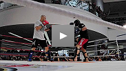 Chuck Liddell Trains in front of a huge audience at the Mall of Asia