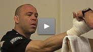 Wanderlei Silva gets his hands wrapped before UFC® 99