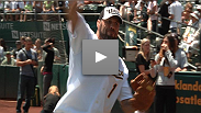Watch as UFC 118 star and Hall-of-Famer Randy Couture throws out the first pitch for the Oakland A's.