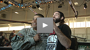 Stars and soldiers alike get ready for tonight on base in Fort Hood as fighters drill inside the Octagon.
