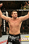 Matt Mitrione celebrates his victory over Tim Hague.