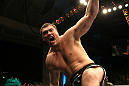 Matt Mitrione celebrates his win.