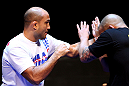 BJ Penn spars during an Open Workout