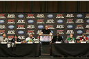 "UFC 128: Pre-Fight Press Conference (L-R) Nate Marquardt, Urijah Faber, Shogun Rua, Dana White, Jon ""Bones"" Jones, Eddie Wineland & Dan Miller"