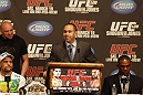 UFC 128: Pre-Fight Press Conference (L-R): Shogun Rua, Dana White and Jon Jones