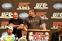UFC 128: Pre-Fight Press Conference: (L-R) Shogun, Dana White, Brendan Schaub and Jon Jones