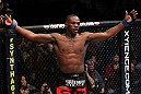 "UFC 128: Jon ""Bones"" Jones celebrates his win over Mauricio ""Shogun"" Rua"