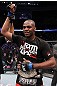 "UFC 128: Jon ""Bones"" Jones celebrates his win over Mauricio ""Shogun"" Rua and his new Light Heavyweight Champion title belt"