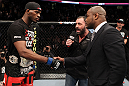 UFC 128: Jon &quot;Bones&quot; Jones and Rashad Evans shake hands when announced the next contenders for the Light Heavyweight title.