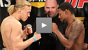 See all the fighters of the TUF 12 Finale hit the scales at the weigh-in.