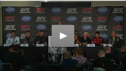 The Brits - Hardy, Bisping and Hathaway - welcome their opponents - Condit, Akiyama and Pyle - to the UK at the UFC 120 pre-fight press conference in London.