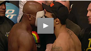 Anderson Silva and Vitor Belfort have an intense staredown in front of a packed house at the UFC 126 weigh-in.