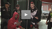 Dan Hardy and Anthony Johnson debate the finer points of their UFC Fight Night Live backstage at weigh-in.