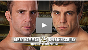 TUF season 8 competitor Kyle Kingsbury returns to the Octagon after a year layoff to face Jared Hamman.  Hamman holds a leve 1-1 record, but earned Fight of the Night honors in his last contest with Rodney Wallace.