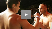 "Former UFC® champions Randy ""The Natural"" Couture and Lyoto ""The Dragon"" Machida weigh before their bout in Toronto."