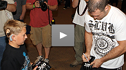 Matt Hamill's story has inspired millions of fans around the world. At the UFC 130 open workouts, Matt gets to meet one of those fans - 12-year-old Christian Buserini.v