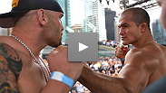 "Junior dos Santos and Shane Carwin, two men that define the term ""heavy-handed"", weigh in for their No. 1 contender's bout at UFC® 131."