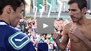 Kenny Florian and Diego Nunes get the crowd wound up as they weigh in for their bout at UFC® 131: Dos Santos vs. Carwin.
