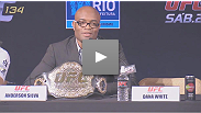 Dana White, Yushin Okami, Forrest Griffin and Brendan Schaub travel to Rio for this UFC 134 press conference with Brazilian battlers Anderson Silva, Shogun Rua and Minotauro Nogueira.