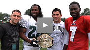 The champs are here! Frankie Edgar and Dominick Cruz stop by the Philadelphia Eagles' traini