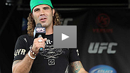Clay Guida takes fan questions at the UFC Fight Club Q&A at the Harley-Davidson Museum in Milwaukee prior to UFC Live: Hardy vs. Lytle.