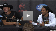 Donald Cerrone and Ben Henderson - lightweight WEC vets who've been dominant since joining the UFC - appear together on the winner's dais at the press conference after UFC Live.