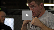 In a surprising role reversal, Matt Hughes cracks up the crowd while Josh Koscheck plays nice during the media scrum at open workouts.