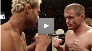 Love him or hate him, Josh Koscheck's back and he's ready to take the torch from Hall of Famer Matt Hughes. See the two charismatic fighters' staredown from the UFC 135 weigh-in.