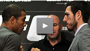 Before they match up for the title on Saturday 8, UFC champ Jose Aldo and featherweight contender Kenny Florian share a first contact inside the Octagon.
